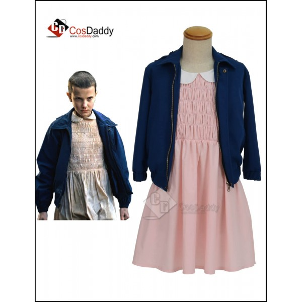 Stranger Things Eleven Pink dress Blue Jacket Cost...