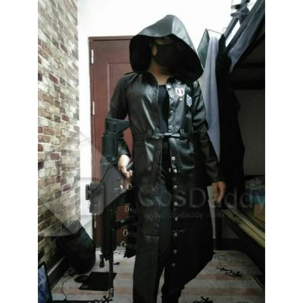 Playerunknown's Battlegrounds Costume Black Leather Hooded Jacket