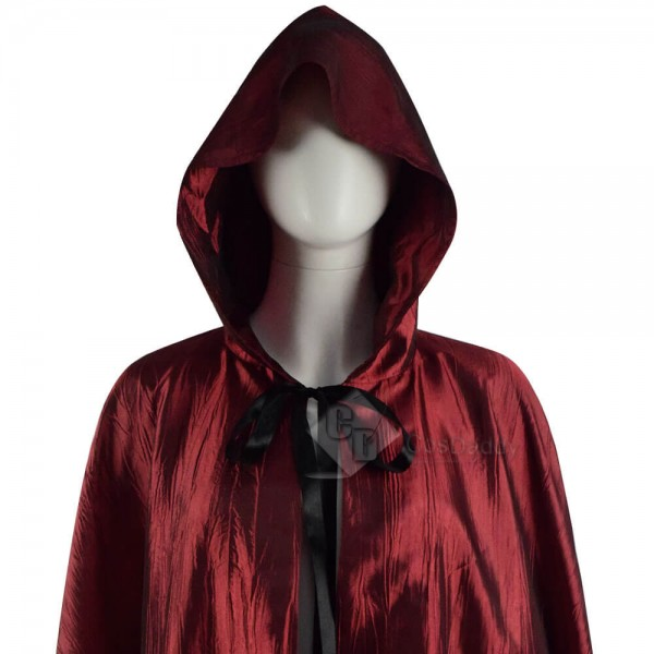 Halloween Costume Red Hooded Cape Cloak Coat For Sale