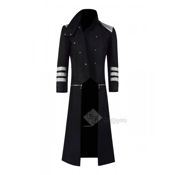 Casual Black Hooded Abrigo Hombre Button Long Tren...