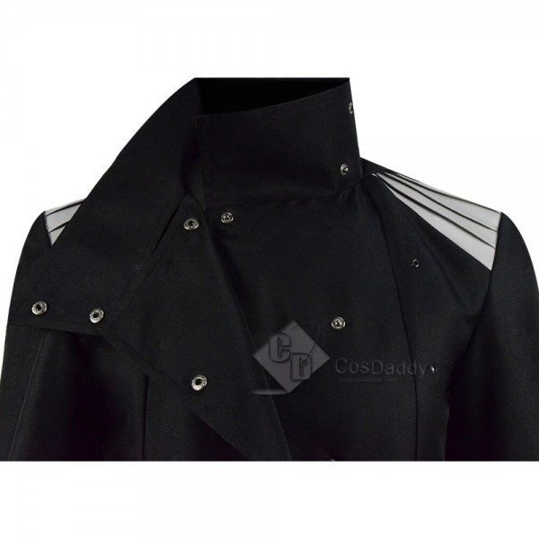 Casual Black Hooded Abrigo Hombre Button Long Trench Coat
