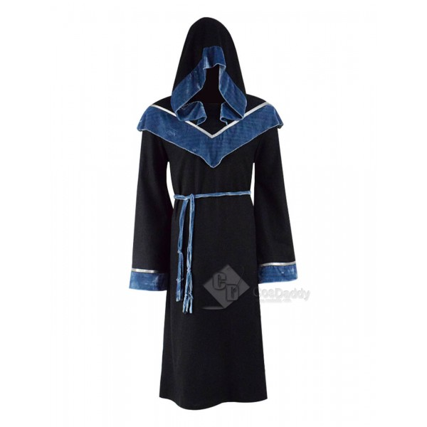 Black Halloween Magic Long Robe Hooded Costumes