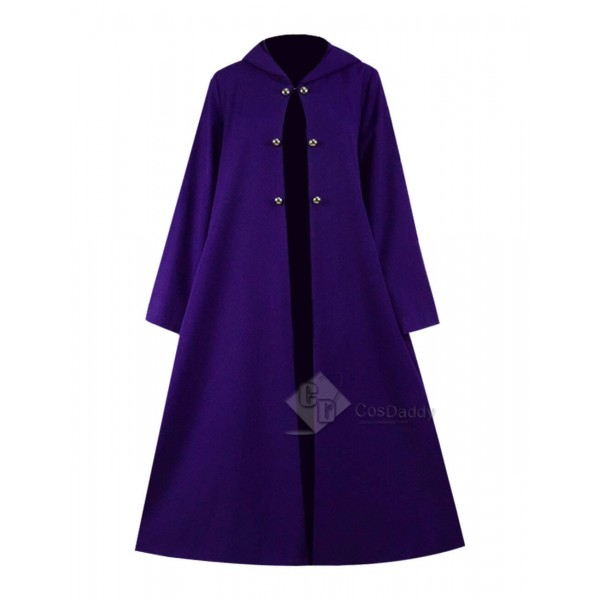 Steampunk Purple Hooded Cape Cloak Double Breasted...