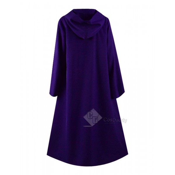 Steampunk Purple Hooded Cape Cloak Double Breasted For Halloween 2019