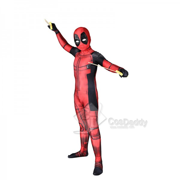 Deadpool Marvel Deluxe  Halloween Costume For Kids Lycra Spandex Cosplay Suits