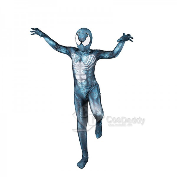 Venom Cosplay Bodysuit Jumpsuit Cyan-Blue Hallowee...