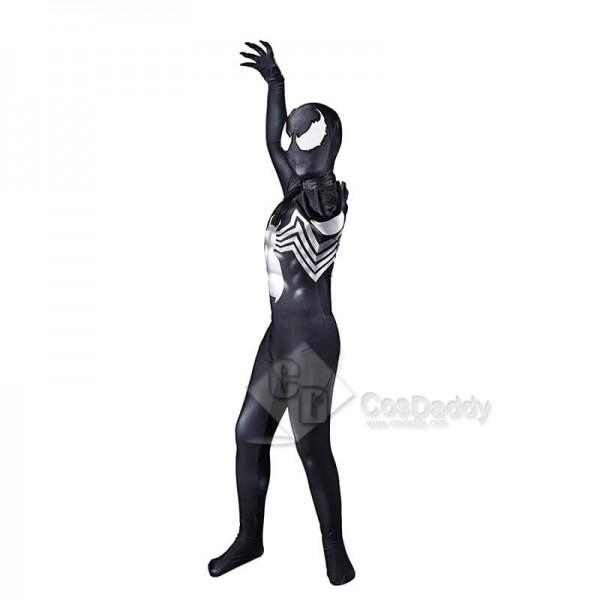 Venom Spiderman Costume Black Tight Jumpsuit Halloween Cosplay