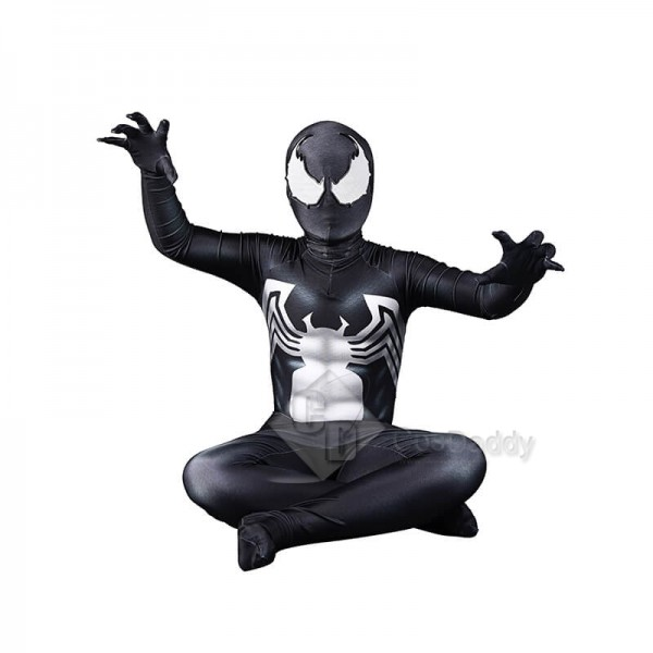 Venom Spiderman Costume Black Tight Jumpsuit Halloween Cosplay