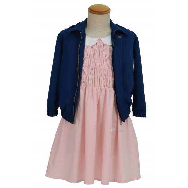 Stranger Things Eleven Pink dress Blue Jacket Costume