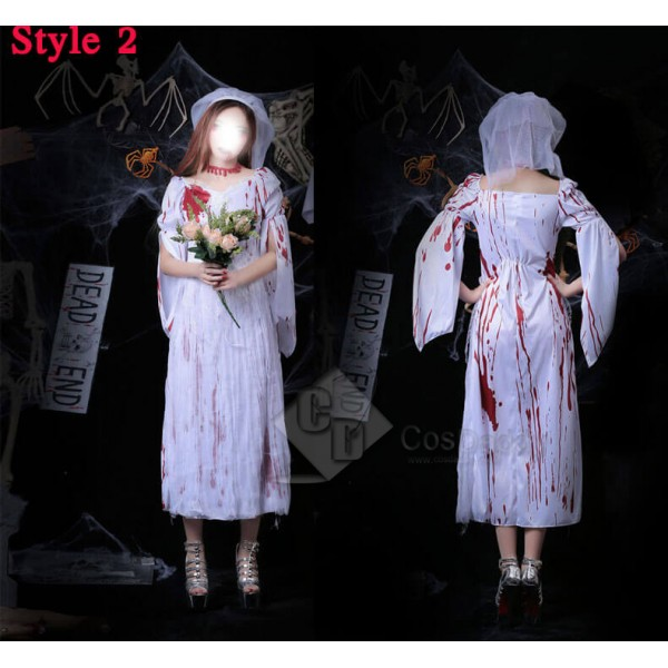 Scariest Halloween Costume Female Ghosts Bride Bridegroom Zombie Suit Dress Cosplay