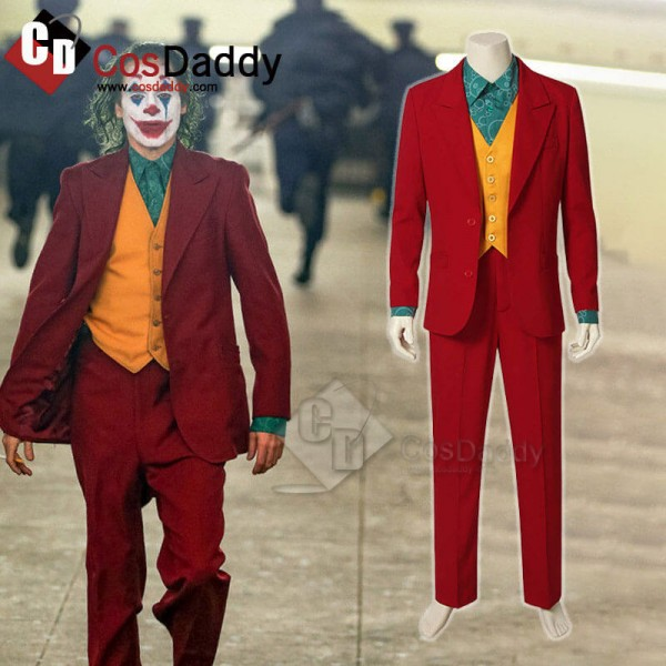 Men The Joker Clown Red Suit Outfit Cosplay Costum...