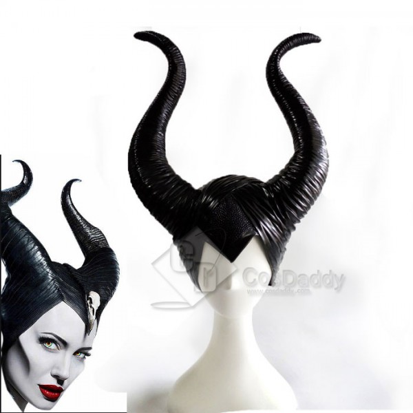 Maleficent Mistress of Evil Witch Horns Hat Headwear Halloween Black Mask Props
