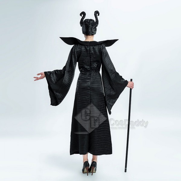 Women's Sexy Maleficent Witch Queen Black Christening Dress Halloween Costume