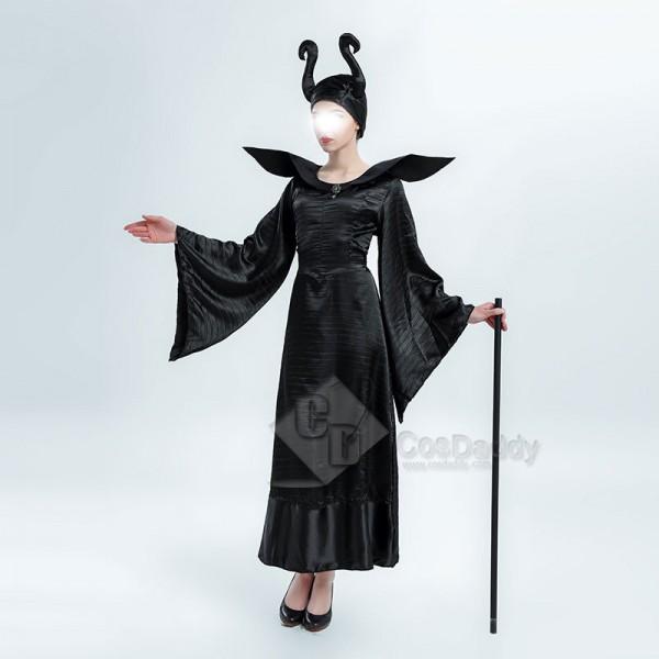Women's Sexy Maleficent Witch Queen Black Christening Dress Halloween Costume