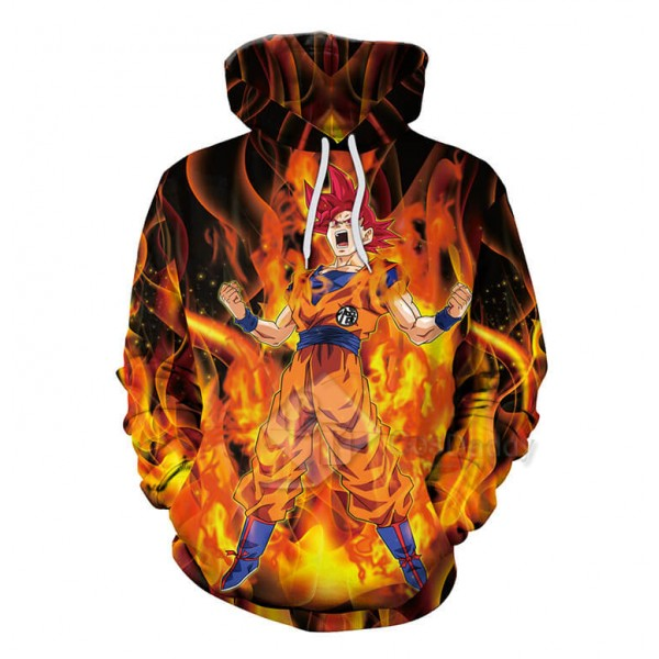 Mens 3D Dragon Ball Red Fire Super Saiyan God Son Goku Printed Hoodie Sweatshirt