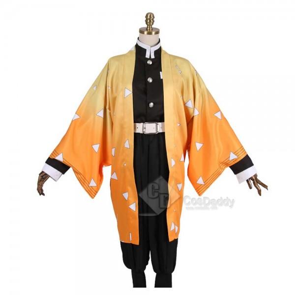 Anime Demon Slayer Kimetsu no Yaiba Agatsuma Zenitsu Cosplay Costume