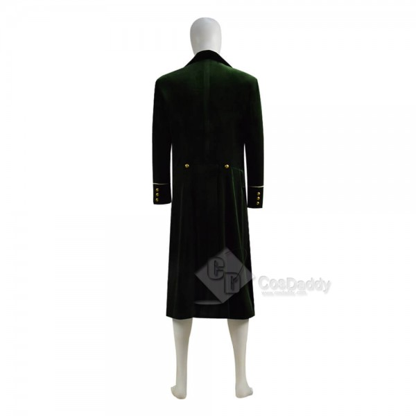 Best Doctor Who Dr Eighth 8th Velvet Dark Green Coat Cosplay Costume