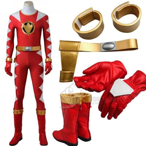Power Rangers Dino Thunder Red Dino Ranger Zentai Bodysuit Boots Cosplay Costume