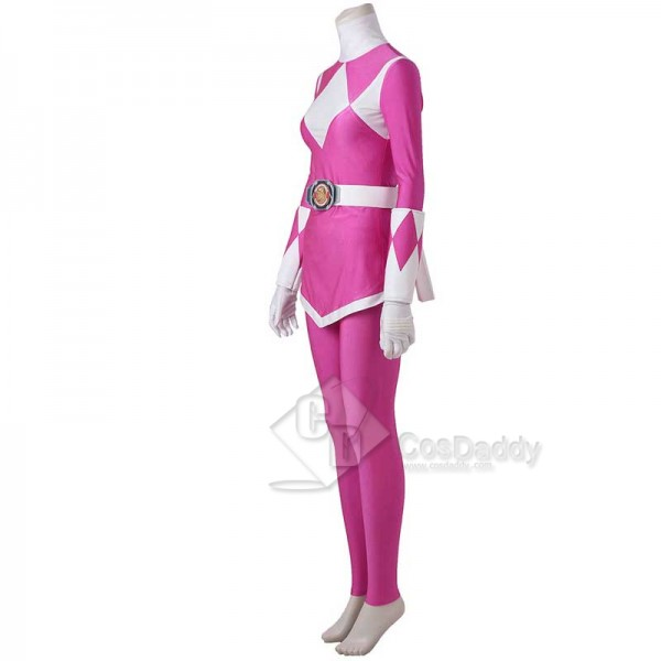 Adults Mighty Morphin Power Rangers Costume Pink Ranger Jumpsuit Zentai Bodysuit Boots Cosplay Costume