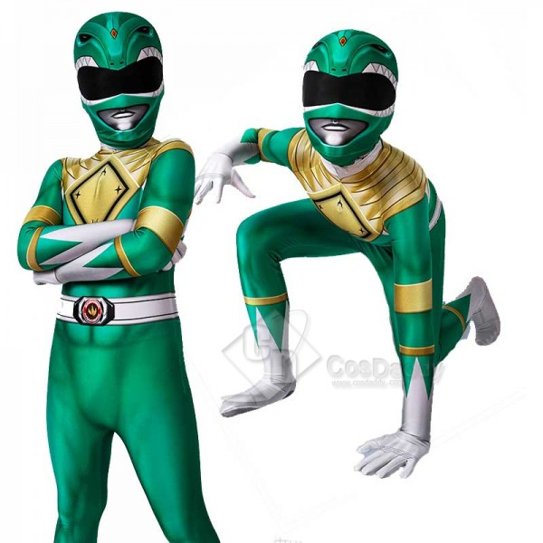 Kids Power Rangers Green Ranger Zentai Jumpsuit Ma...
