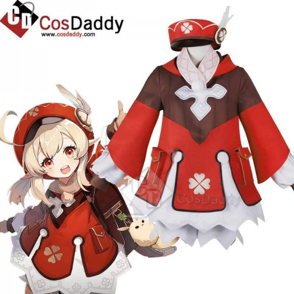 Genshin Impact Klee Red Coat Cosplay Costume Full ...