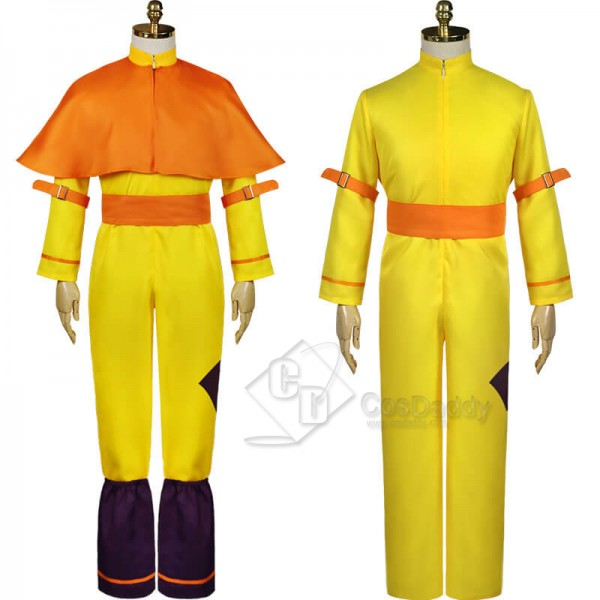 Avatar: The Last Airbender Aang Yellow Jumpsuit Cloak Full Set Outfit Cosplay Costume
