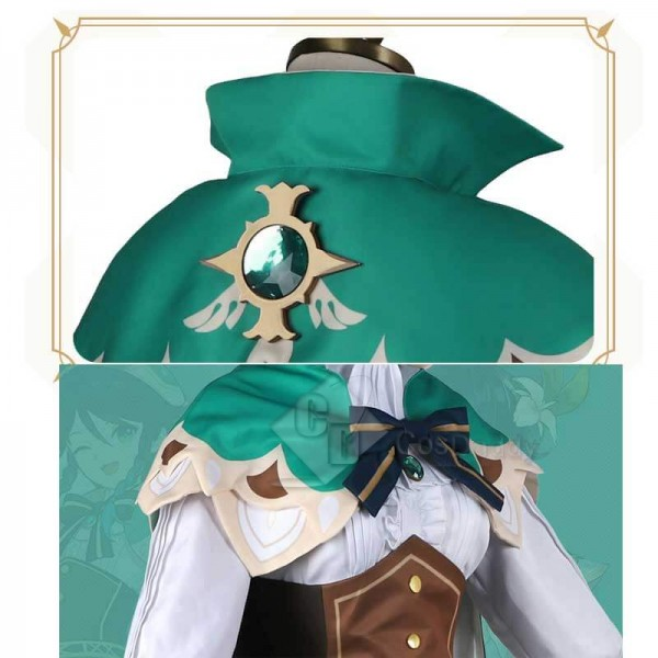 CosDaddy Game Genshin Impact Venti Green Suit Cosplay Costume Gradient Full Set