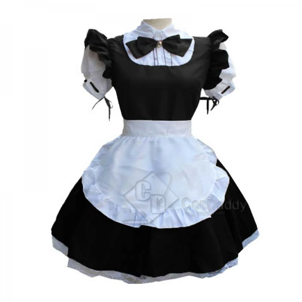 Women Maid Dress Lolita Dress French Apron Maid Costume Cute Short Sleeve Cosplay Costume