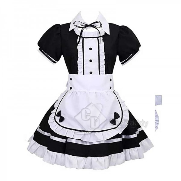 Maid Cosplay Costume Maid Dress Full Set Maid Cosplay Outfit Short Sleeve Lolita Dress French Apron