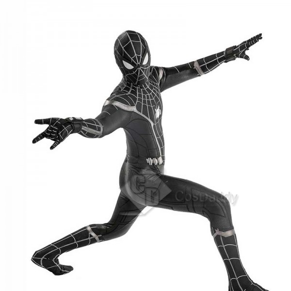Marvel Spider-Man:Homecoming Black Spiderman Costume Jumpsuit Bodysuit Cosplay