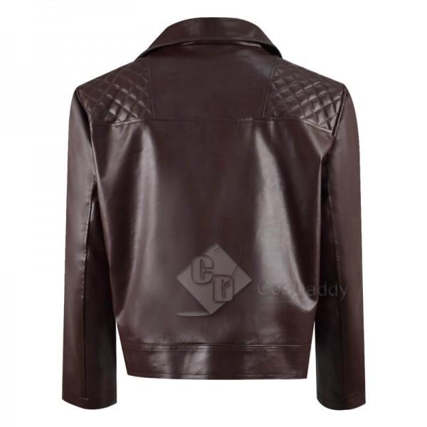 CosDaddy Doctor Who Yasmin Khan Yaz Brown Leather Jacket Cosplay Costume