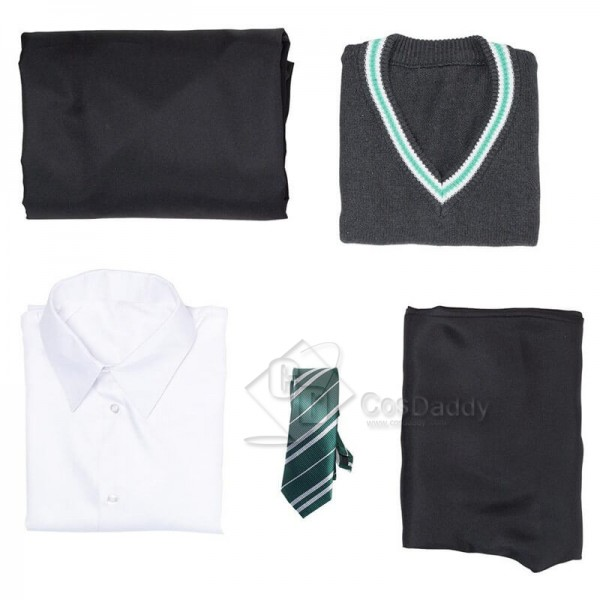 Harry Potter Slytherin Robe Cloak Full Set School Uniform Outfit Cosplay Costume
