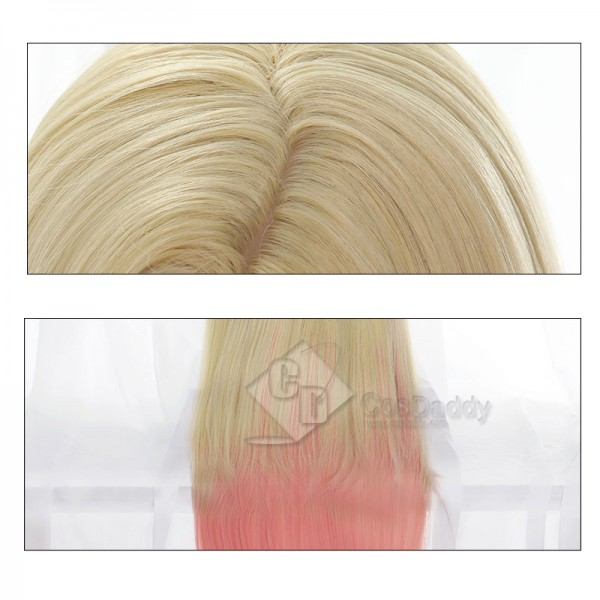 League Of Legend LOL KDA Ahri Blonde Mixed Pink Heat Resistant Cosplay Wig