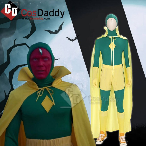 New Edition WandaVision Vision Green Jumpsuit Bodysuit Cape Cosplay Costume Full Set Outfit