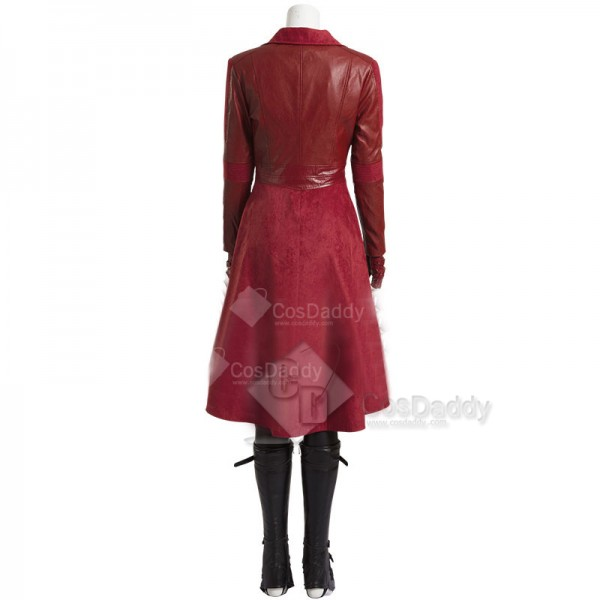 Captain America 3 Scarlet Witch Cosplay Costume Wanda Maximoff Red Leather Jacket Outfit