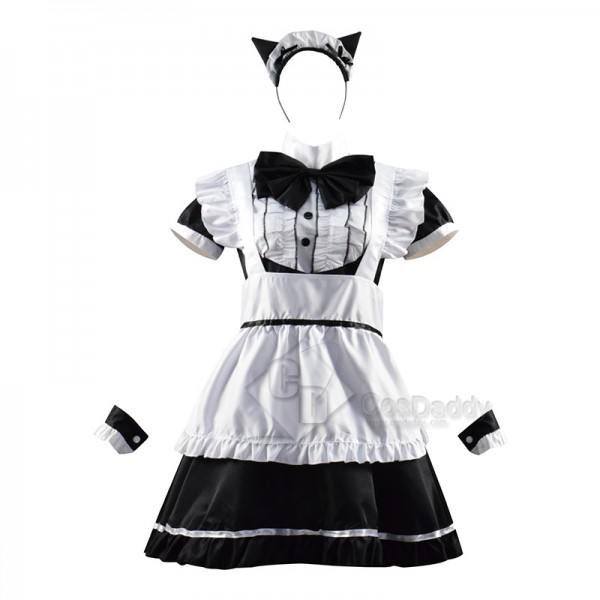 Women Maid Outfit French Apron Lolita Dress Maid D...