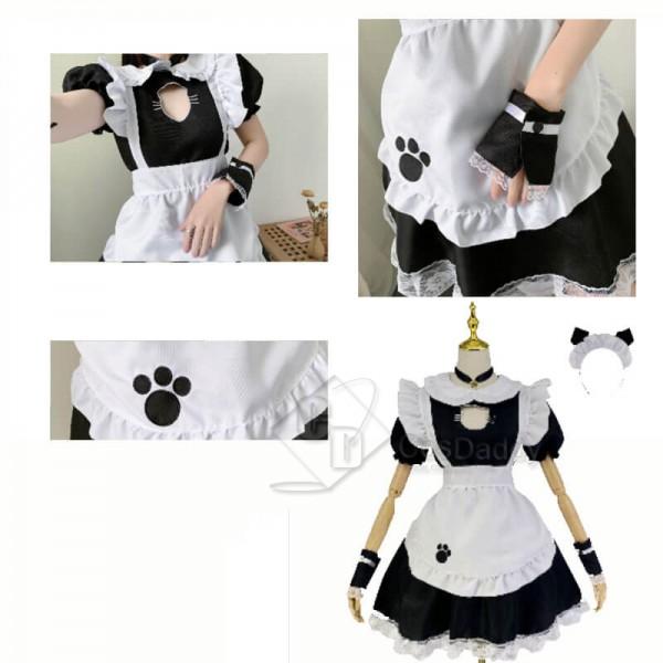 Cat Maid Dress Lolita Dress Women's Anime Cosplay French Apron Maid Fancy Dress