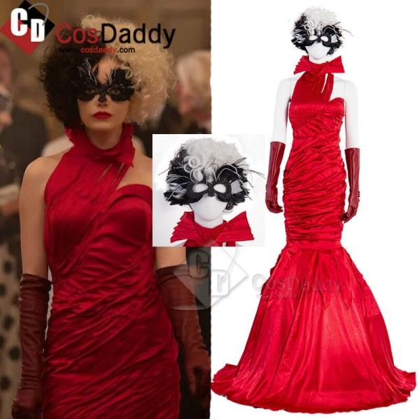 Cruella De Vil Red Dress Emma Stone Cosplay Costum...
