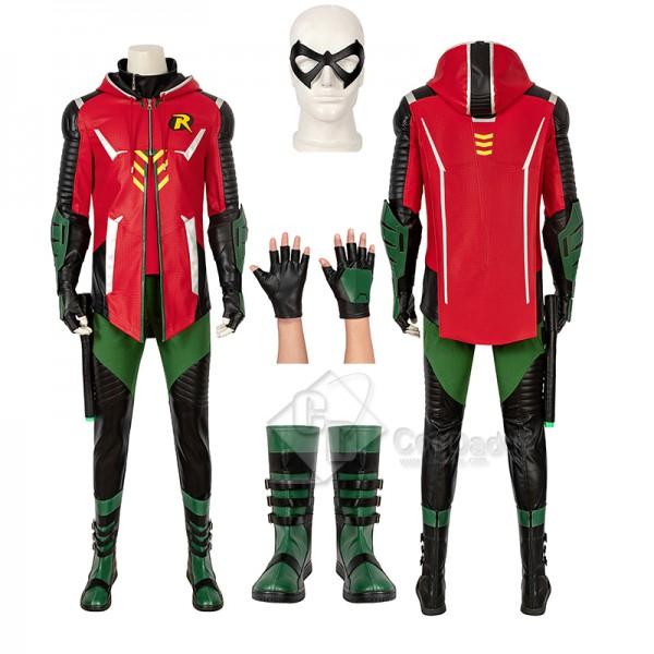 Batman Gotham Knights Red Robin Cosplay Costume Ha...