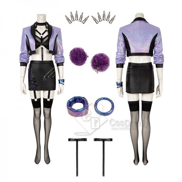 LOL KDA Evelynn Cosplay Costume Purple Sexy Women ...