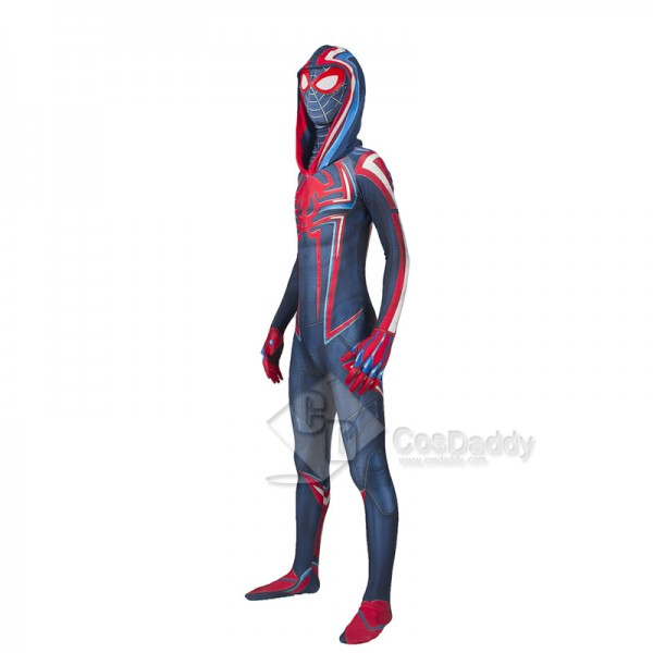 2099 Miles Morales Spider-Man Cosplay Costume Cirmson Cowl Jumpsuit Hollaween Bodysuit