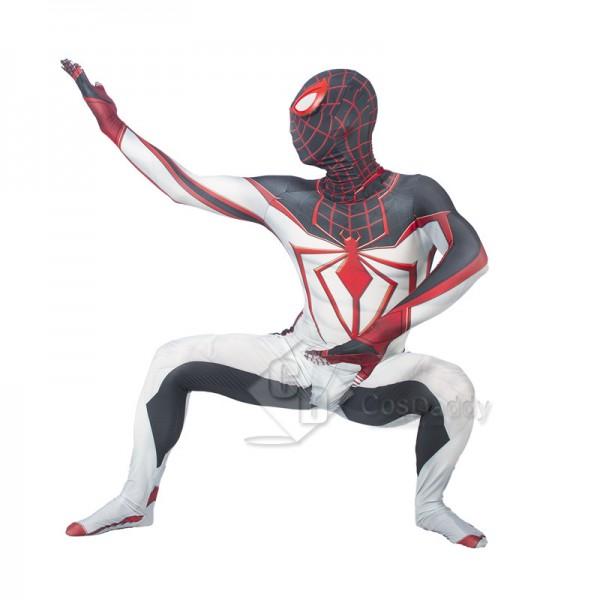 Marvel 2021 Spider-Man Miles Morales ps5 Cosplay Costume TRACK ZenTai Bodysuit White Jumpsuit