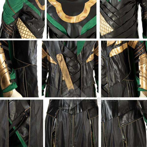 The Avengers Thor Loki Cosplay Costume Halloween Suit Green Cape Full Set With Helmet