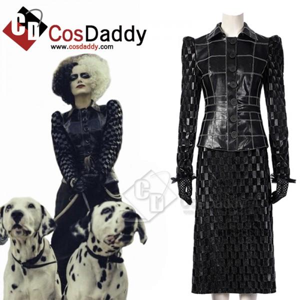 Cruella Deville Cosplay Costume Cruella Black Leather Jacket Skirt Suit Halloween Uniform