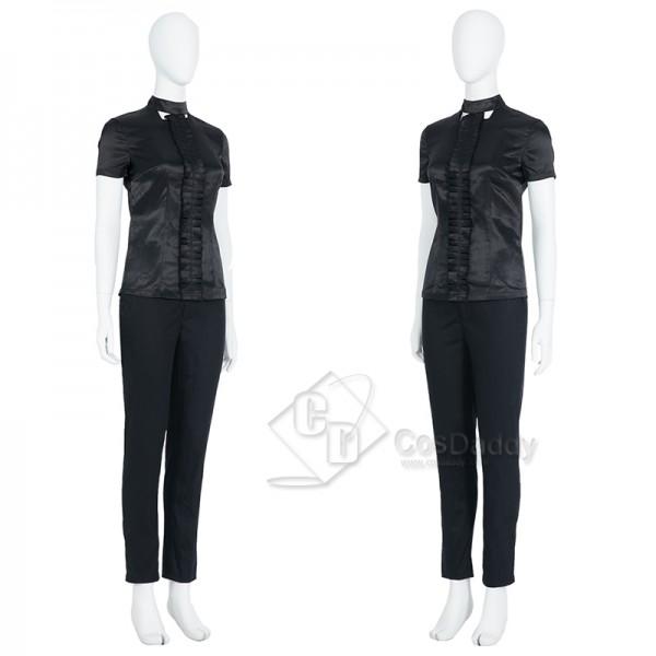 Cruella De Vil Cosplay Costume Black White Polka Dot Dress Halloween Outfit