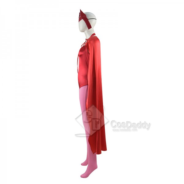 WandaVision Scarlet Witch Cosplay Costume Wanda Maximoff Red Jumpsuit Halloween Carnival Suit