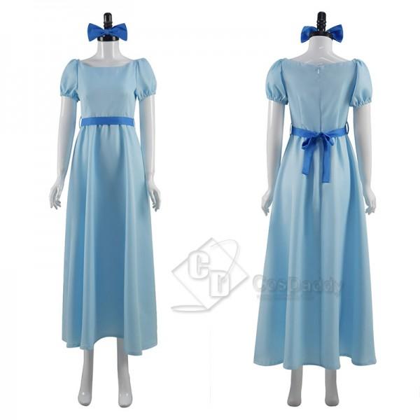 Peter Pan Wendy Darling Cosplay Costume Princess Blue Long Dress Halloween Suit