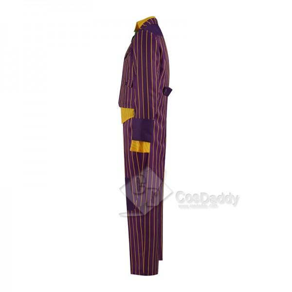 Batman Arkham Asylum Joker Cosplay Costume Purple Coat Pants Uniform Outfit