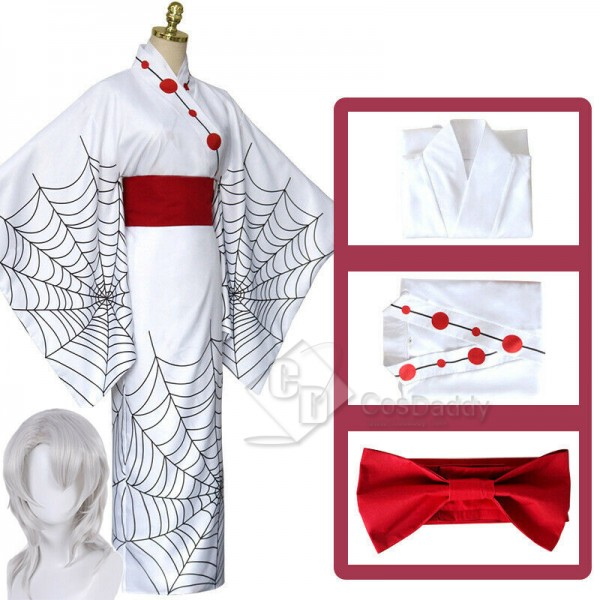 Demon Slayer Twelve Ghost Moon Spider Rui Cosplay Costume White Kimono With Wig