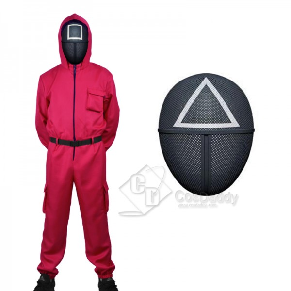 2021 Korean Hot Movie Squid Game Square Manager Cosplay Costume Jumpsuit Mask For Kids